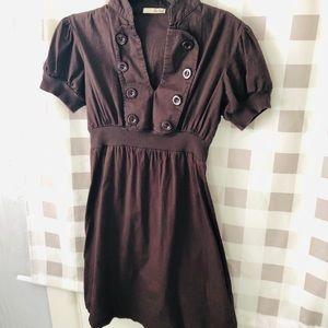 BeBop Brown Dress w/puff sleeves sz med Rn 06161